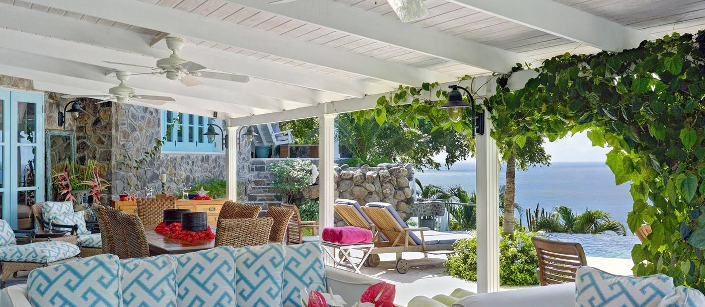 Outdoor sitting area of Greystone Cottage, Mustique