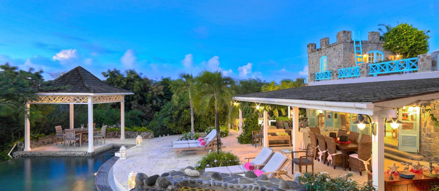 Swimming pool area of Greystone Cottage, Mustique