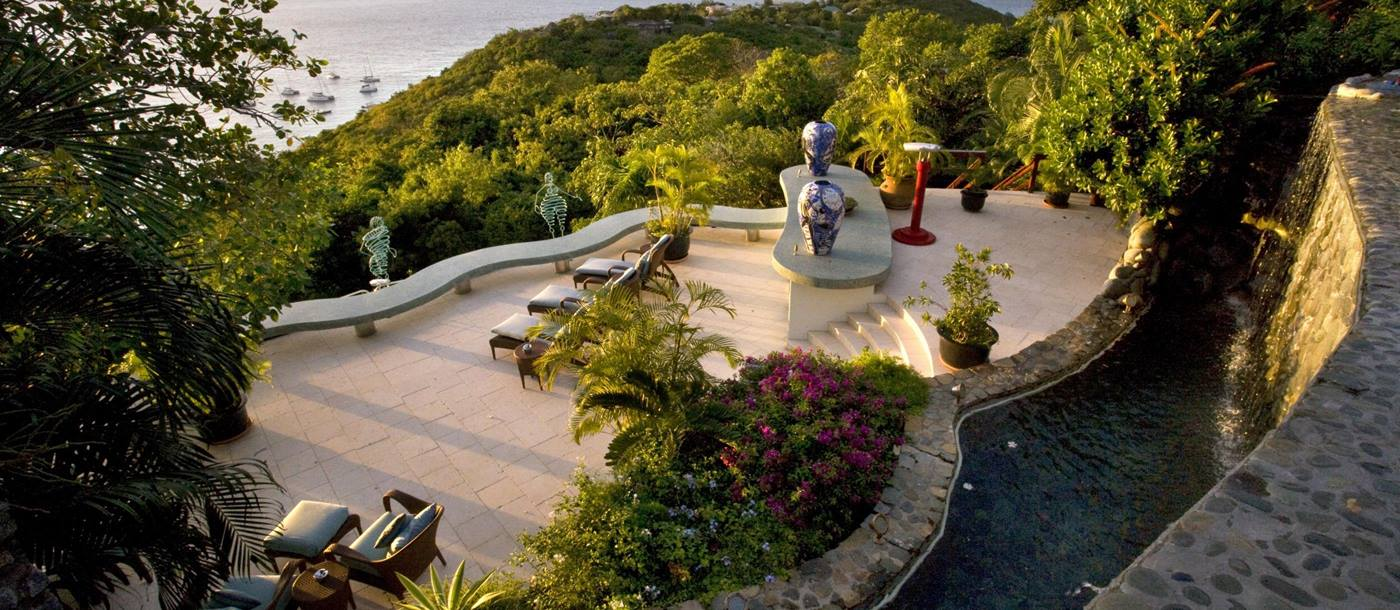 Large terrace at Ilanga, Mustique
