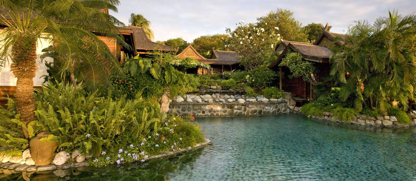 The large swimming pool of Ilanga, Mustique
