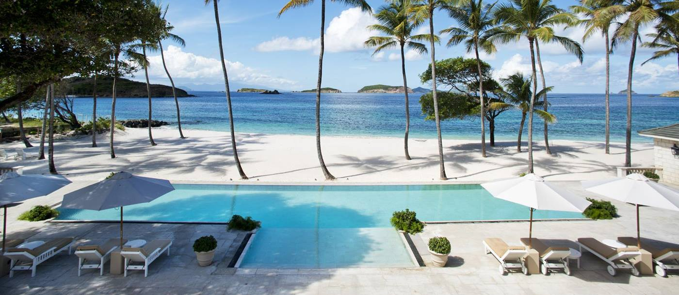 Swimming pool and beach of Palm Beach, Mustique