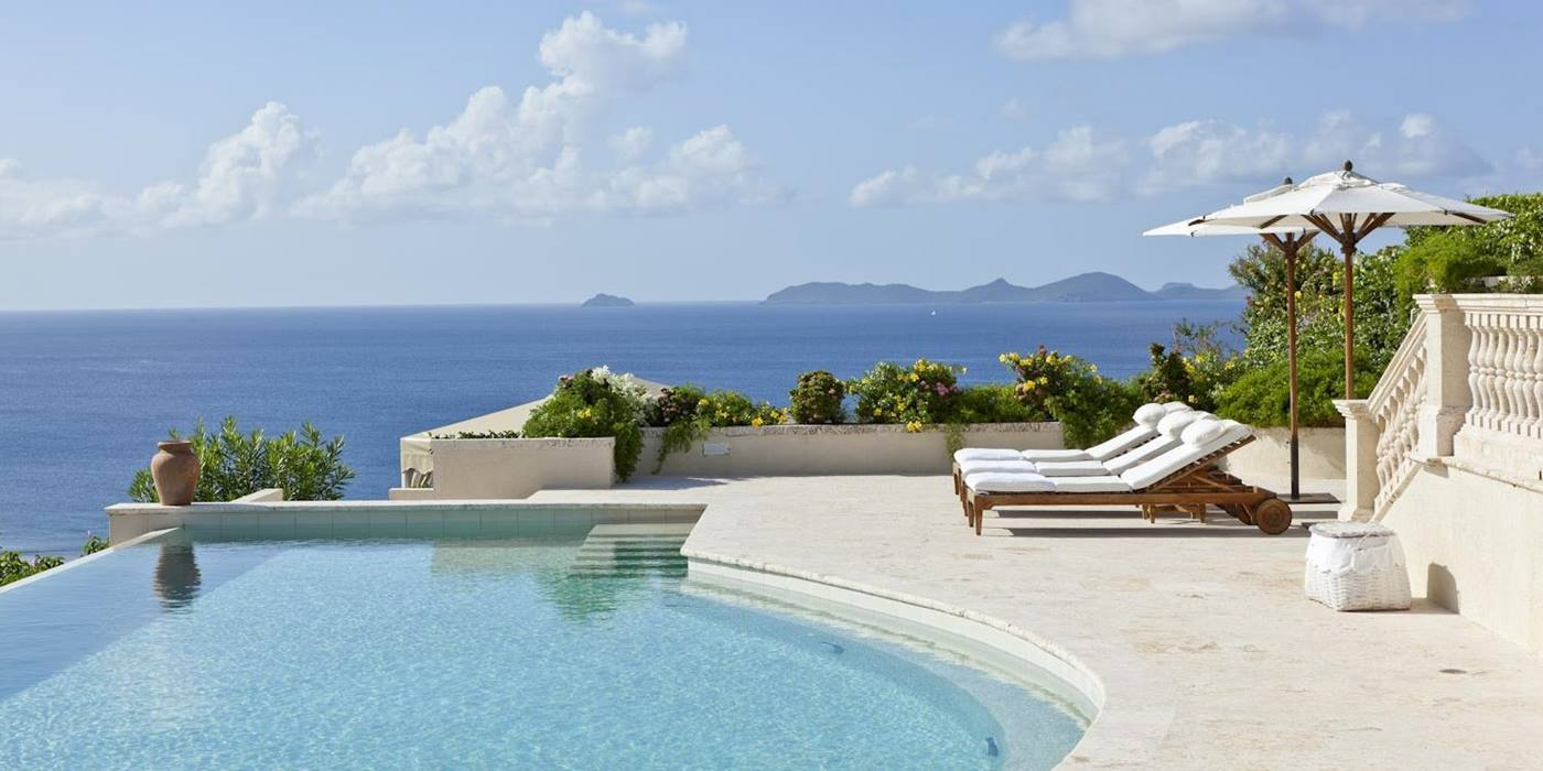 View from the swimming pool of Plantation House, Mustique