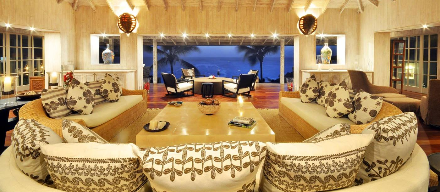 Living area of Tortuga, Mustique