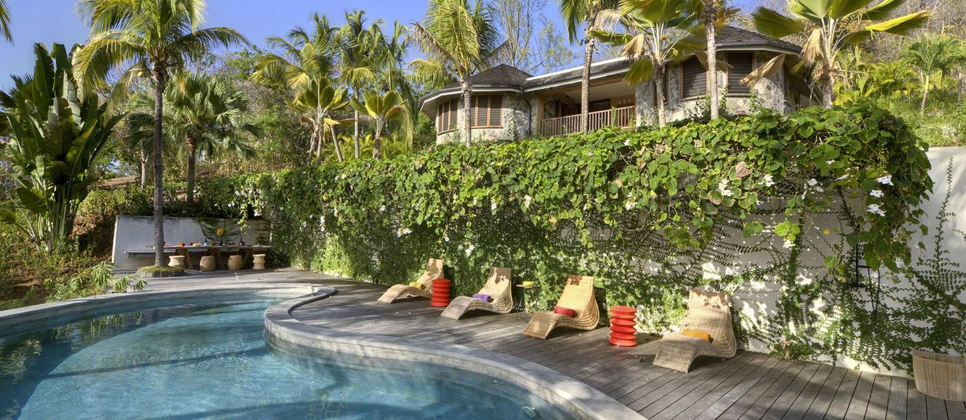 Swimming pool and facade of Villa America, Mustique