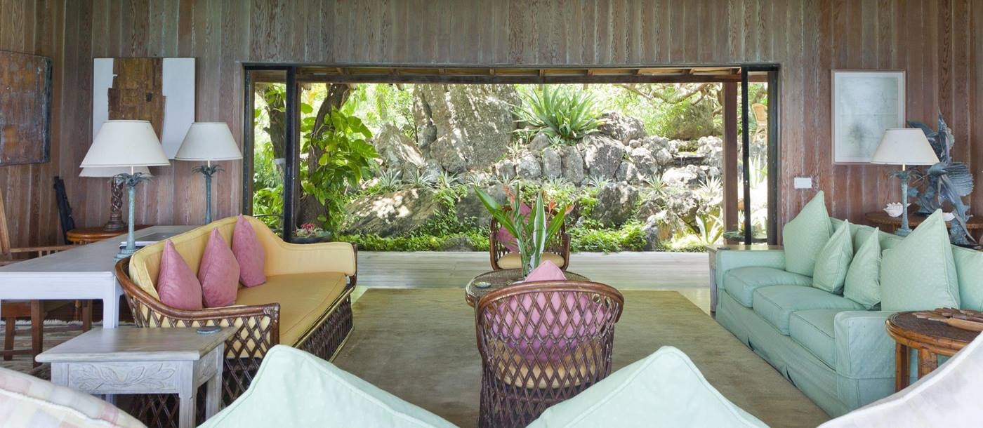 Living area of Villa America, Mustique