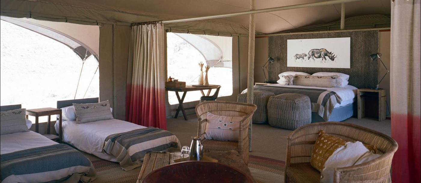 Family room at Hoanib Valley Camp in Namibia