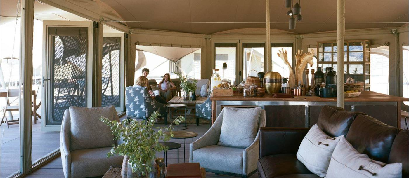 Interior view of the main area at Hoanib Valley Camp in Namibia