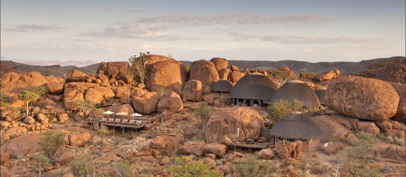 Birds eye view of Mowani Mountain Camp in Namibia