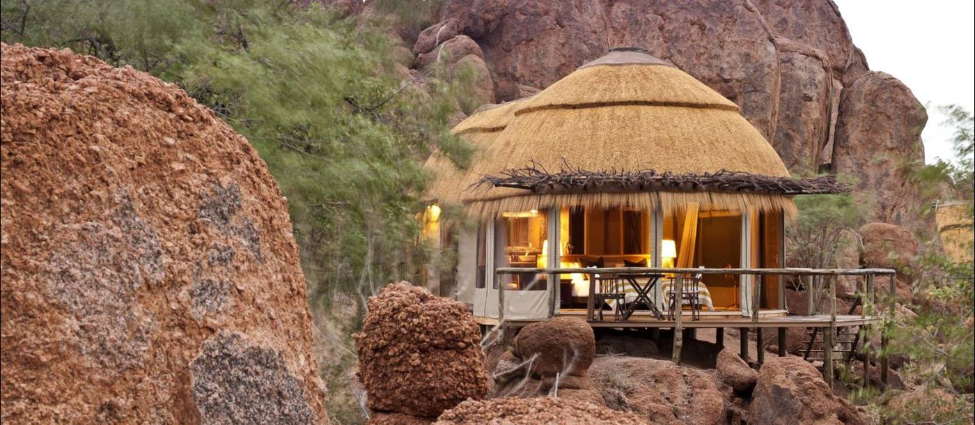 Room exterior at Mowani Mountain Camp in Namibia