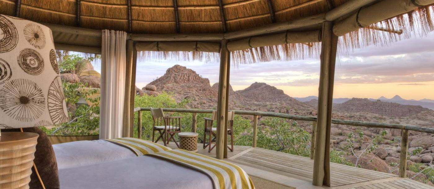 View from superior room at Mowani Mountain Camp in Namibia