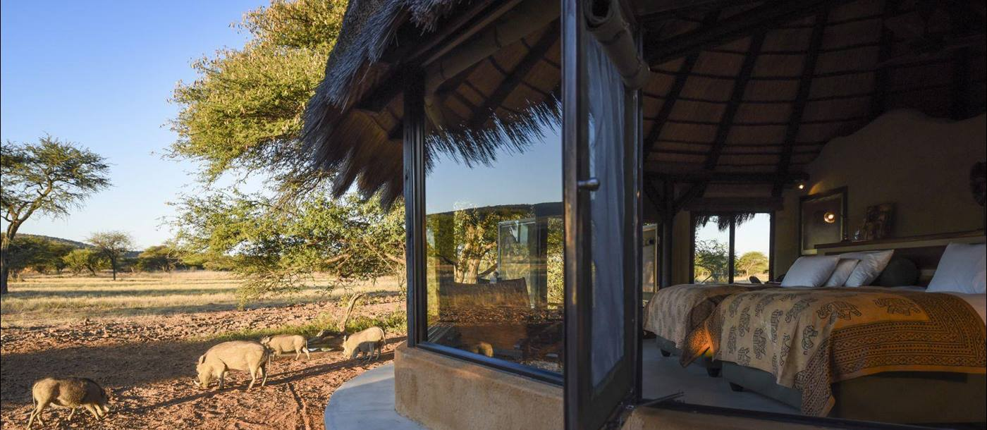 View from bedroom at Okonjima Bush Camp in Namibia