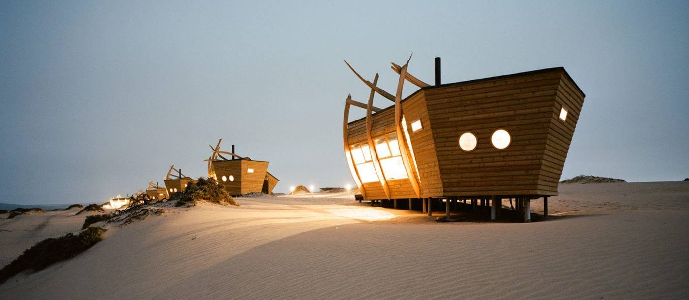 Shipwreck Lodge at night - Namibia