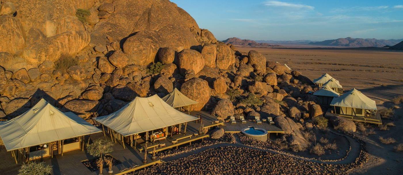 Birds eye view of Wolwedans Boulders Camp in Namibia