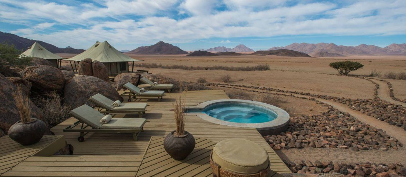 Pool view at Wolwedans Boulders Camp in Namibia