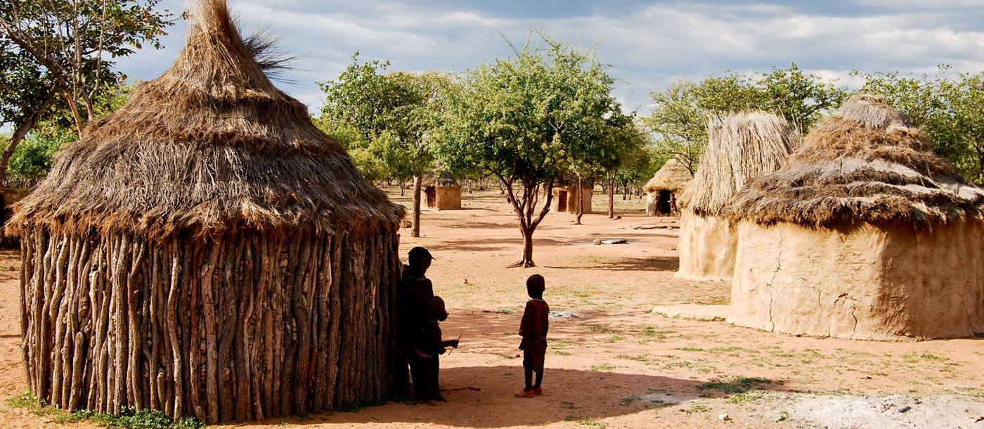 Huts of a Himba village in Namibia