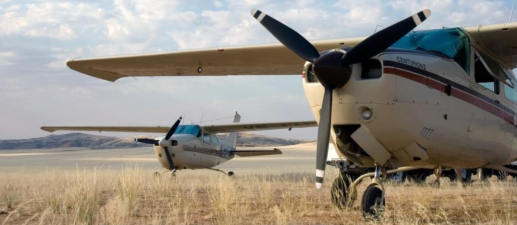The planes used on flying safaris in Namibia