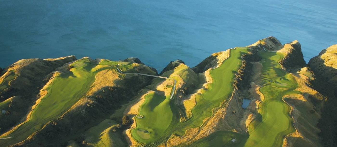areal shot of the gold course near The Farm at Cape Kidnappers, New Zealand