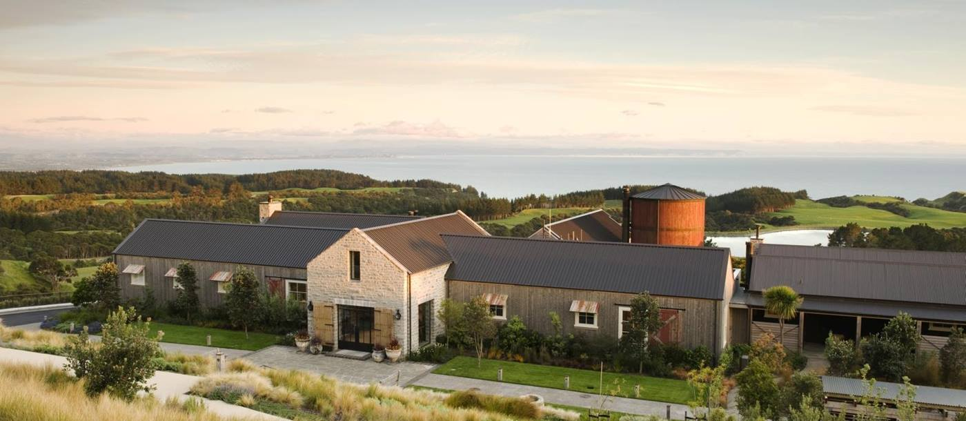 The exterior of The Farm at Cape Kidnappers, New Zealand