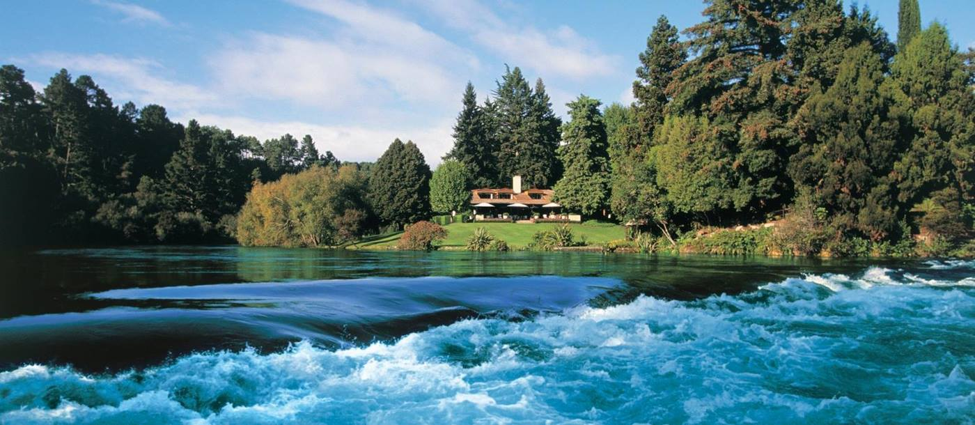 The Huka Lodge seen from the Huka Falls, New Zealand