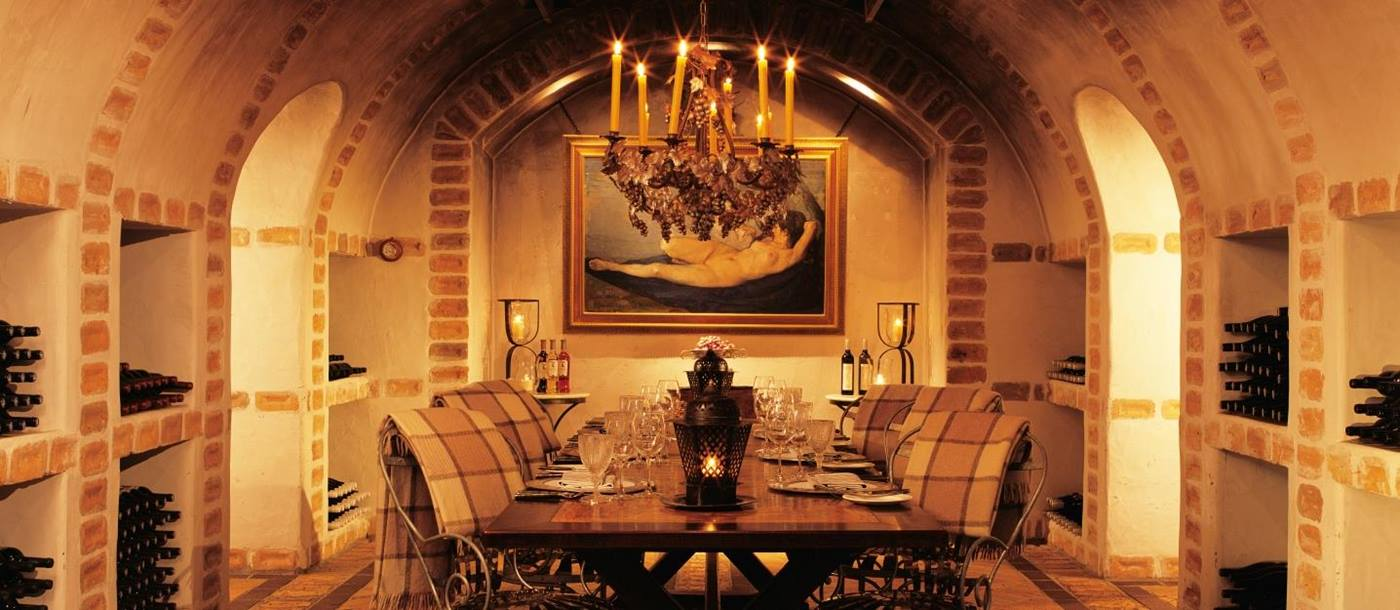 The wine cellar of Huka Lodge, New Zealand