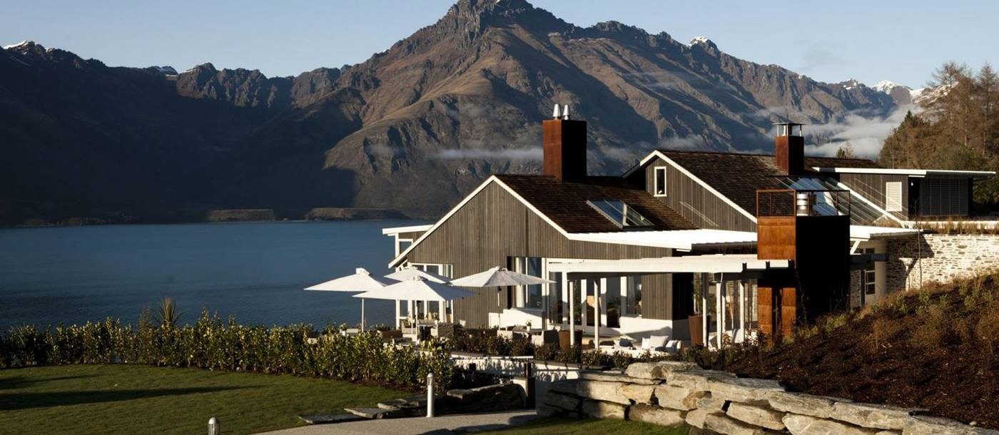 Matakauri Lodge exterior with views of the mountains