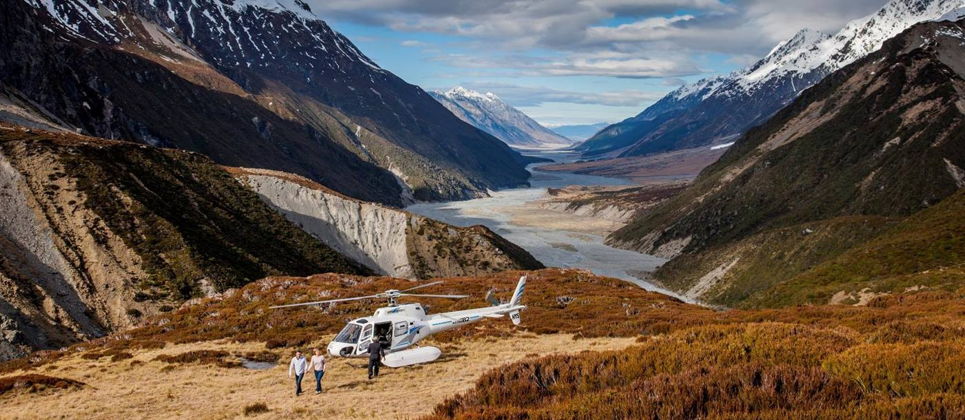 A helicopter in the Southern Alps of New Zealand - photo credit Miles Holden