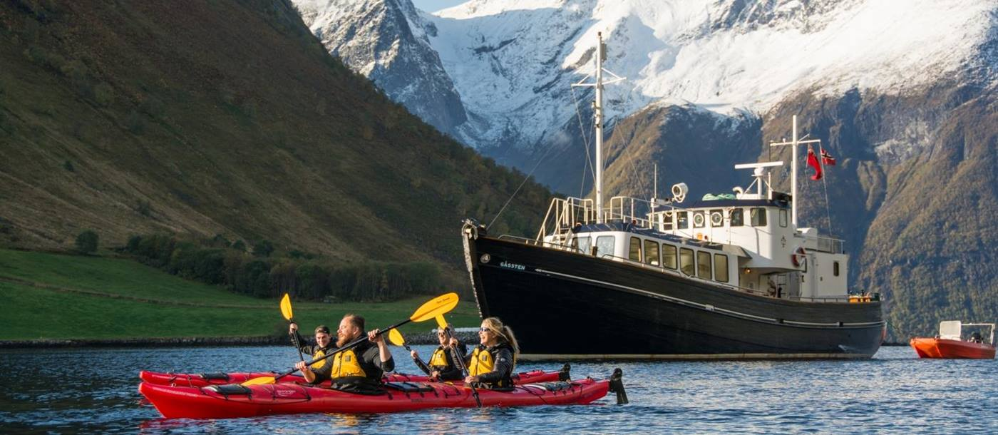 Kayaking with HMS Gassten in Norway - photo credit to Gordie Smith