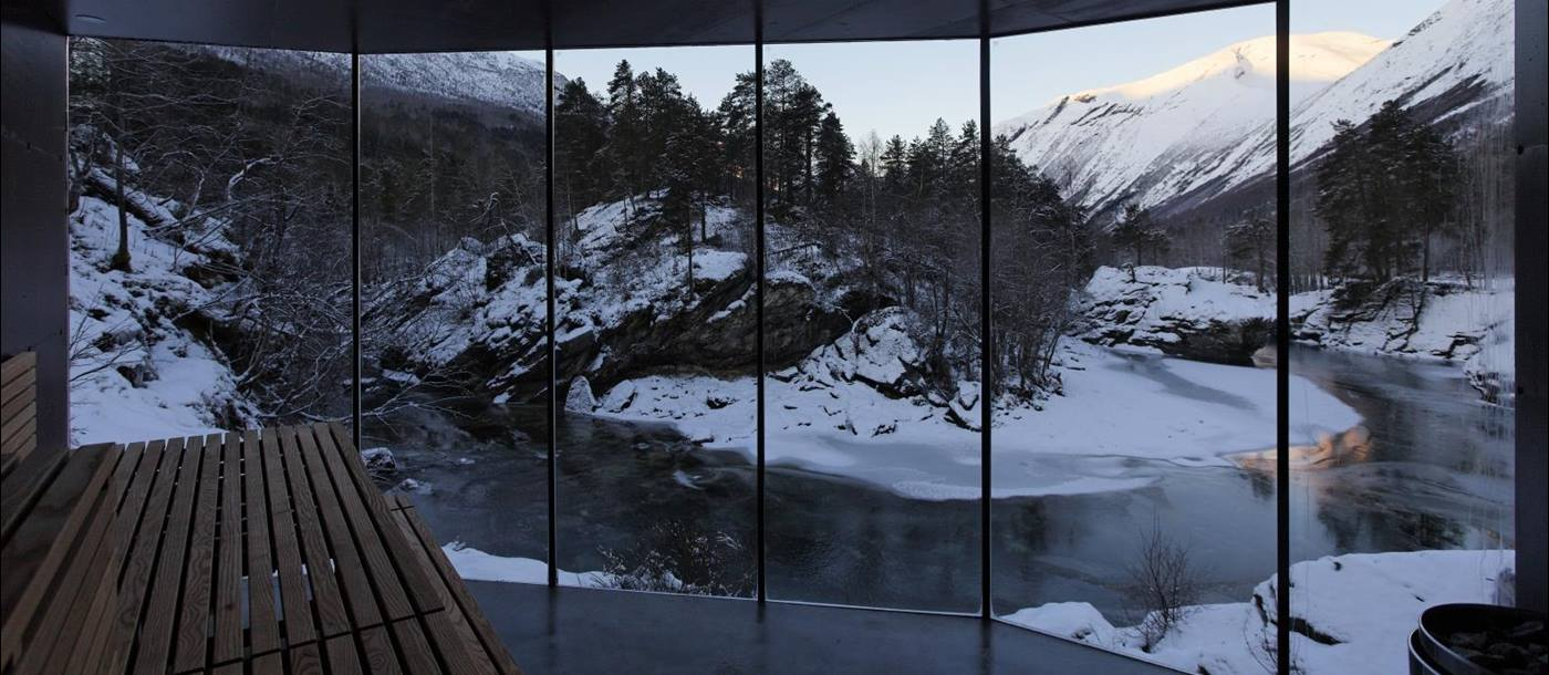 Panoramic sauna view at Juvet Landskapshotel in Norway