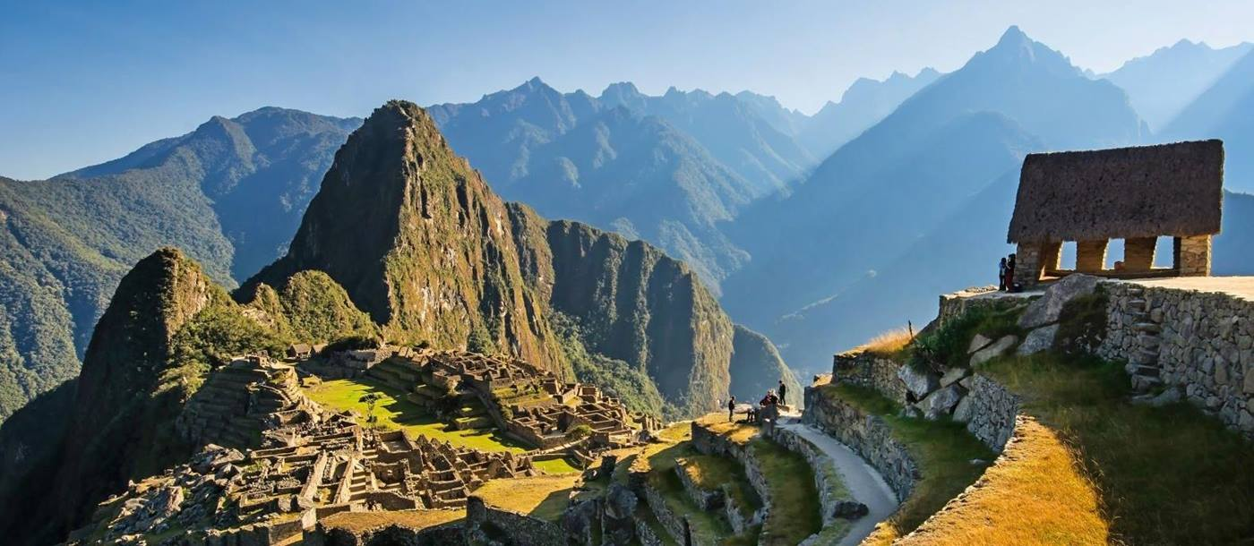 Side view of the Machu Picchu ruins and the Watchman's hut in Peru