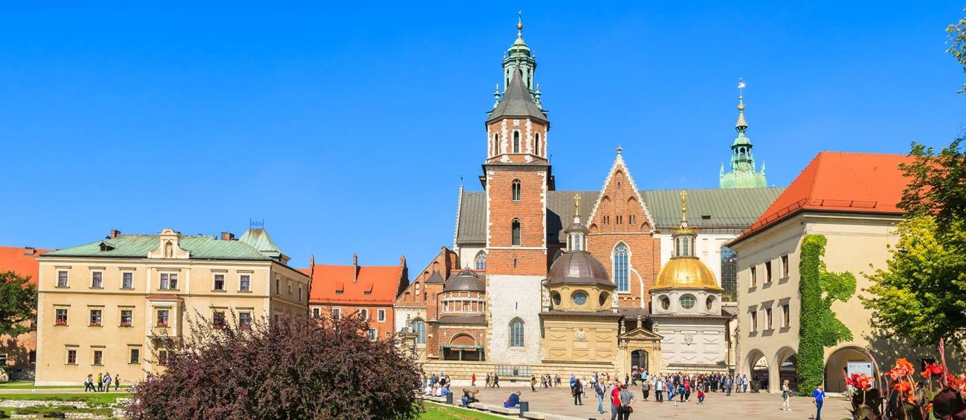 Wawel Castle Square at Krakow in Poland