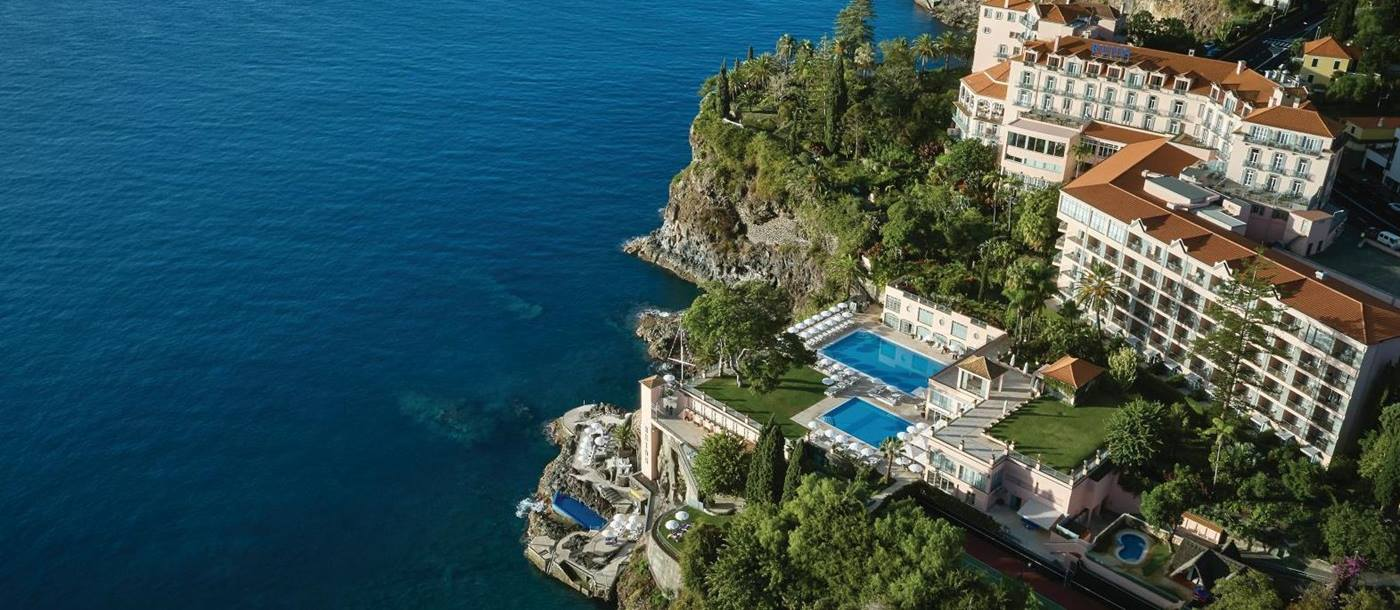 Aerial view of Belmond Reid's Palace hotel in Madeira Portugal