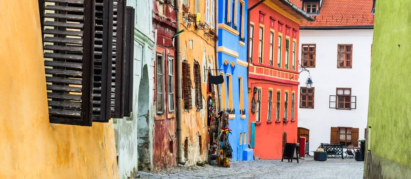 Colourful streets of Sighisoara in Romania