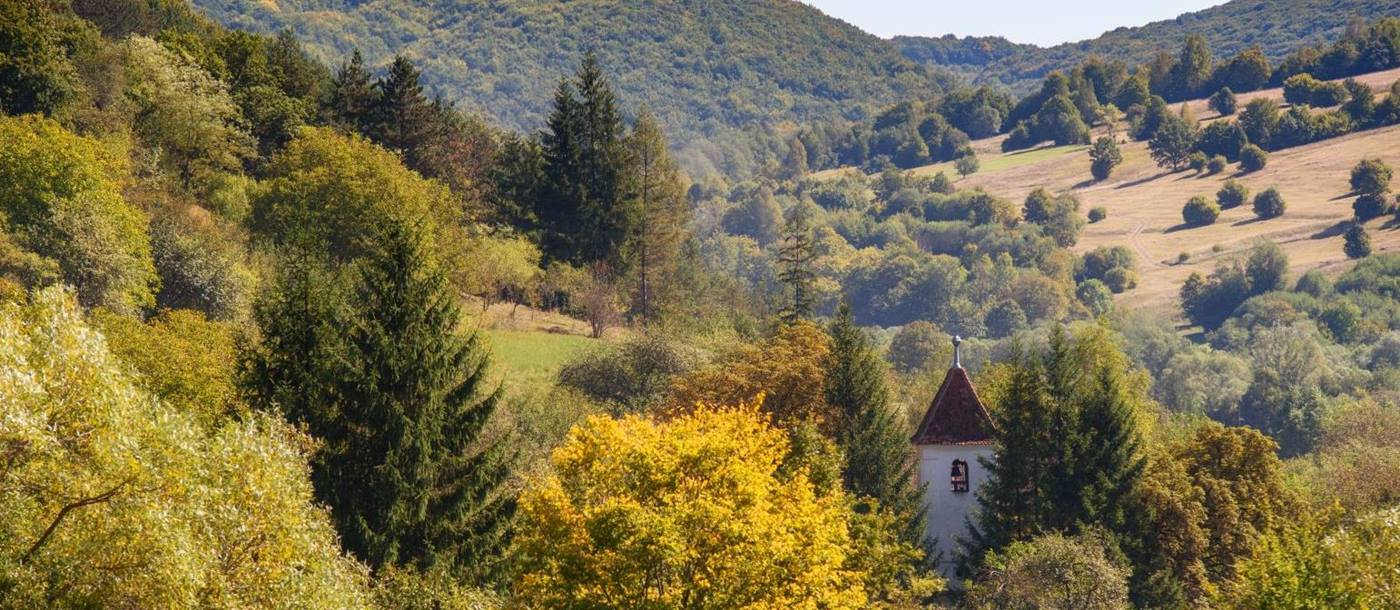 Church spire with backdrop of trees and hills in Transylvanian valley, Romania