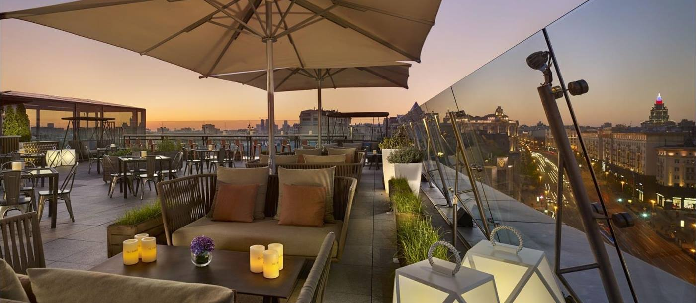 Outdoor rooftop terrace at The Ritz-Carlton in Moscow Russia
