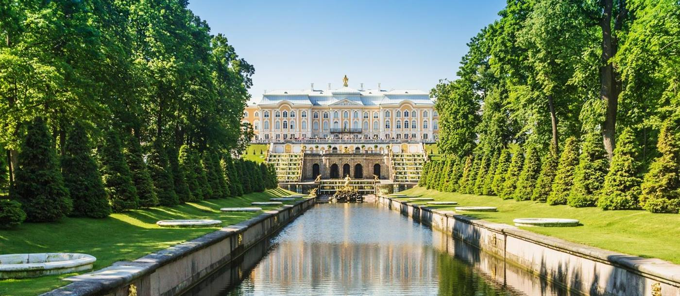 Grand Cascade Fountain and Palace view in Russia