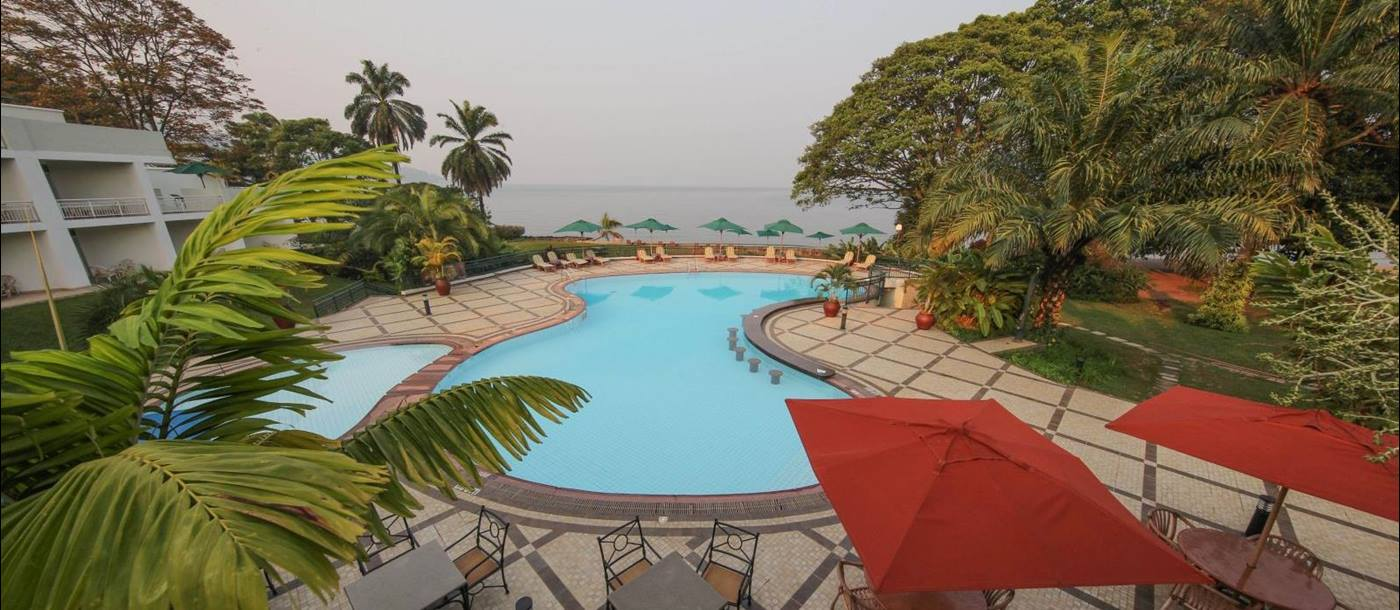 View of the pool at Kivu Serena Hotel in Rwanda