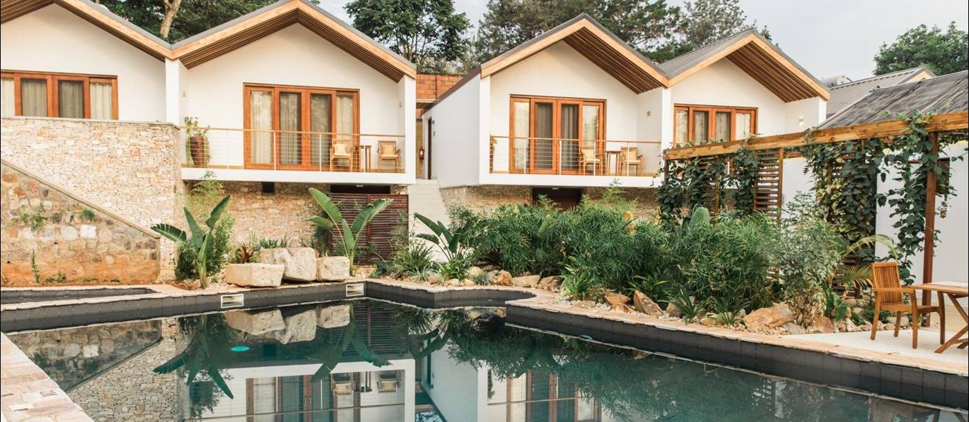 Rooms overlooking the pool at The Retreat in Rwanda