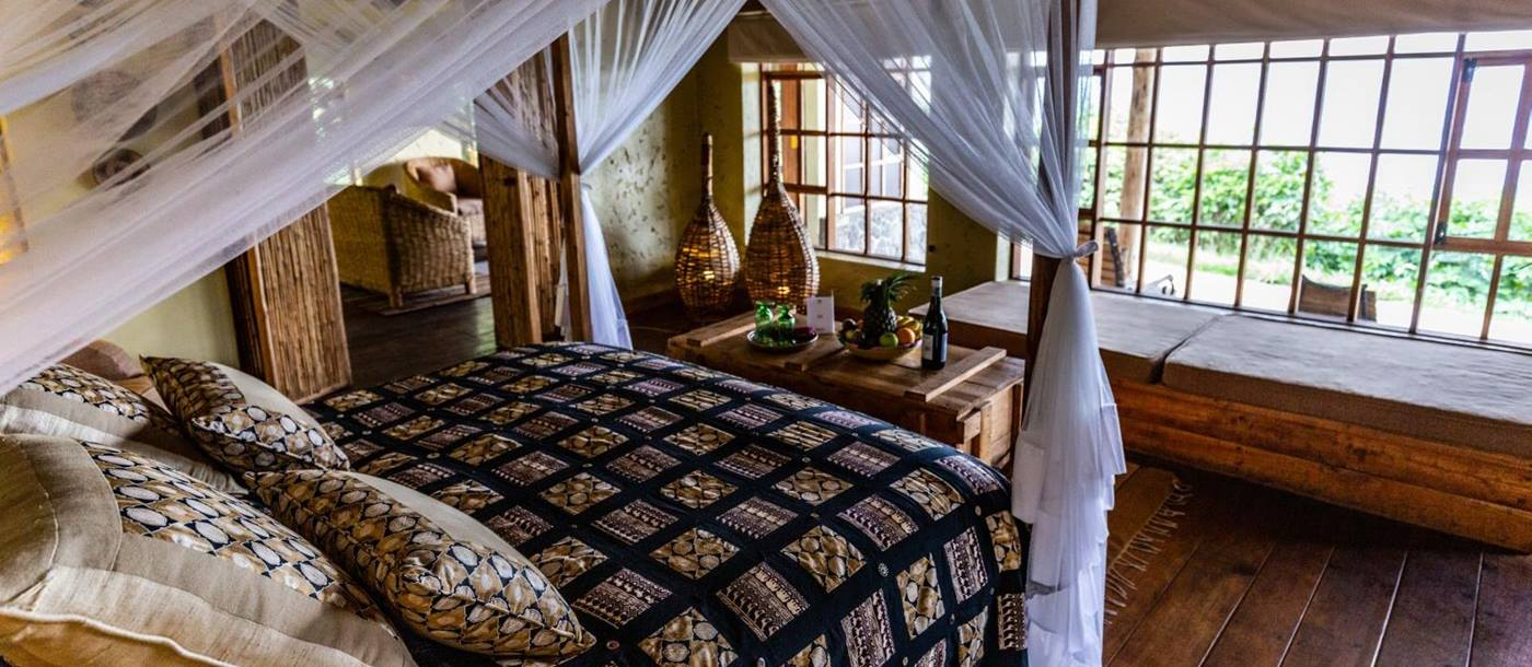 Bedroom at Virunga Lodge in Rwanda