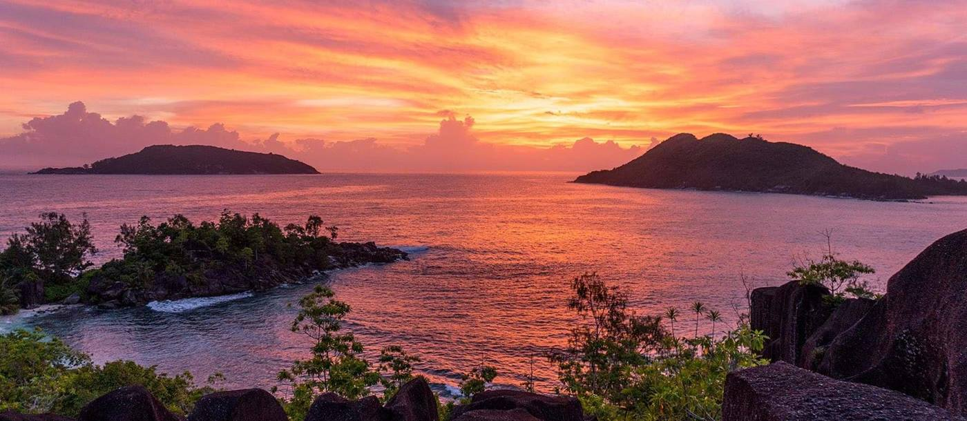 panoramic at sunset from Constance Ephelia Resort, Seychelles