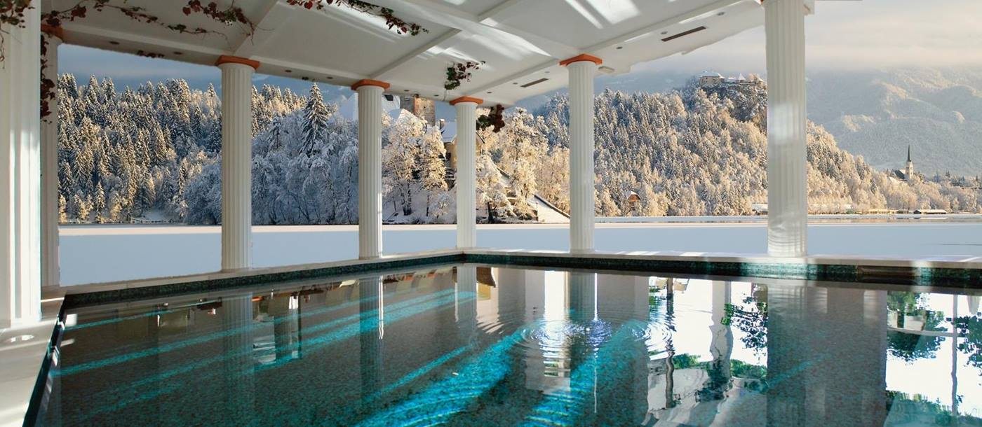 Indoor pool with views of lake at Grand Hotel Toplice in Slovenia