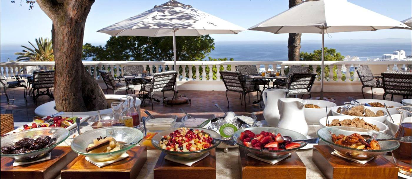 Breakfast set up outside at Ellerman House in South Africa