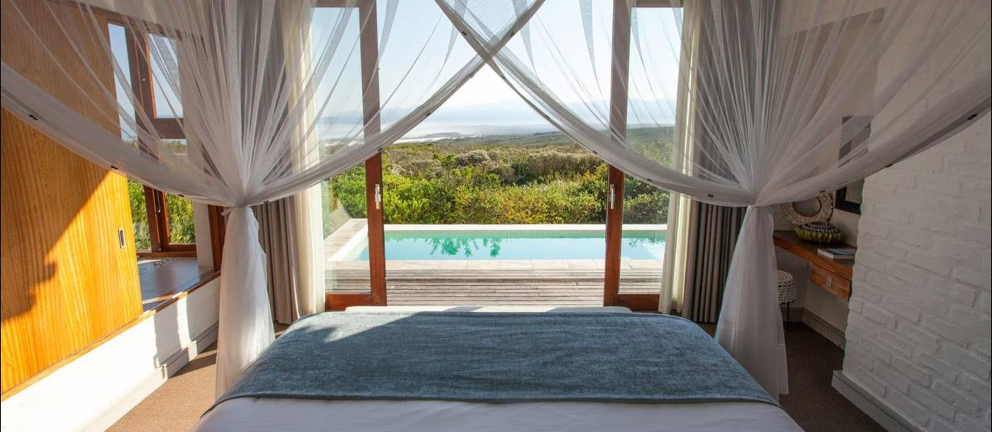 Pool view from bedroom at Grootbos Forest Lodge in South Africa