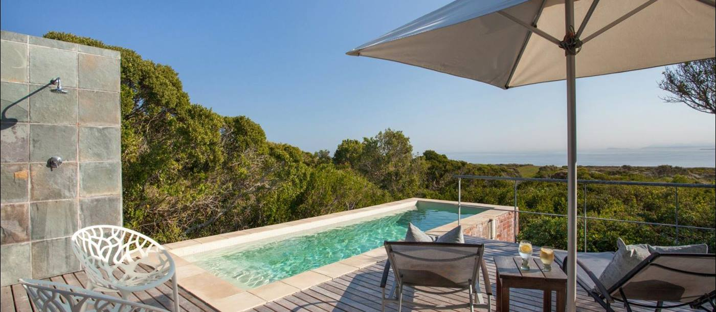 Pool deck view at Grootbos Forest Lodge in South Africa