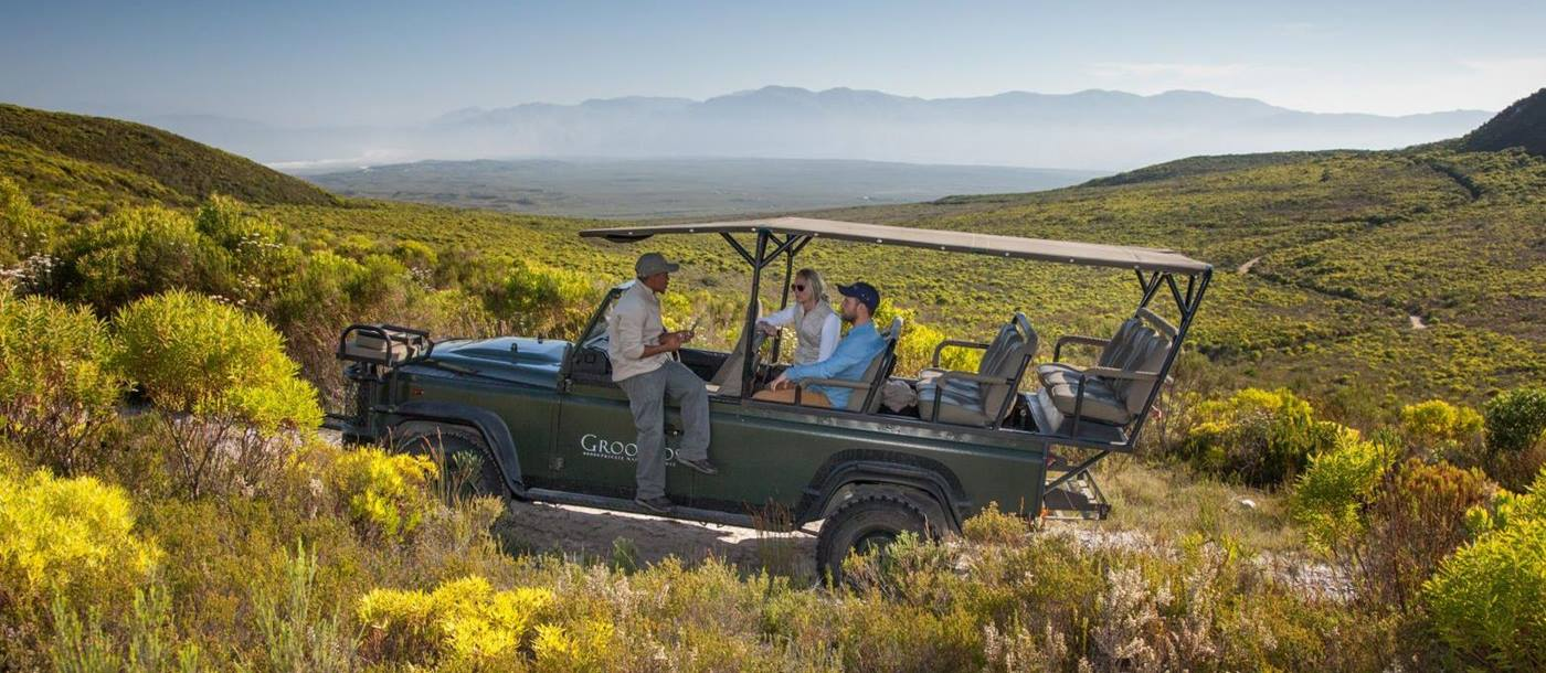 Guests on a nature safari in Grootbos Private Reserve South Africa