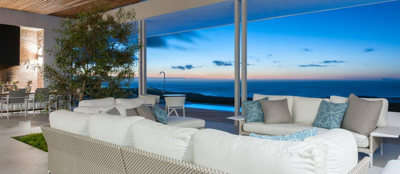 Views from the living area at sunset in Grootbos Private Villas South Africa