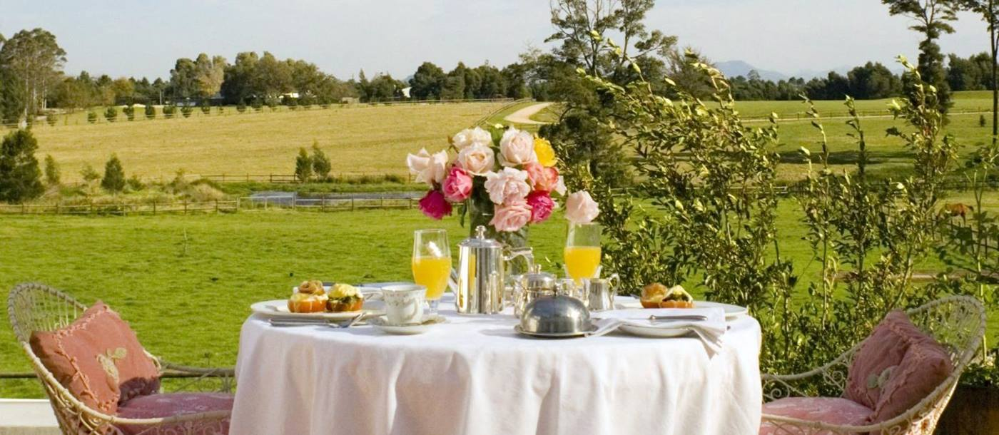 Breakfast on the terrace at Kurland in South Africa