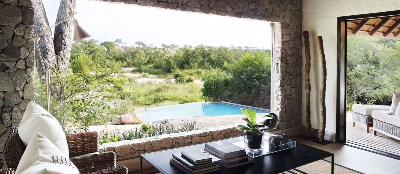 View from sitting area at Londolozi Granite Suites in South Africa