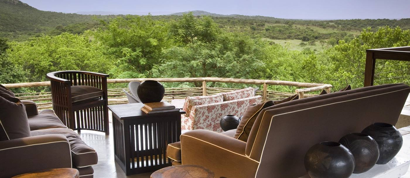 The terrace at Phinda Mountain Lodge