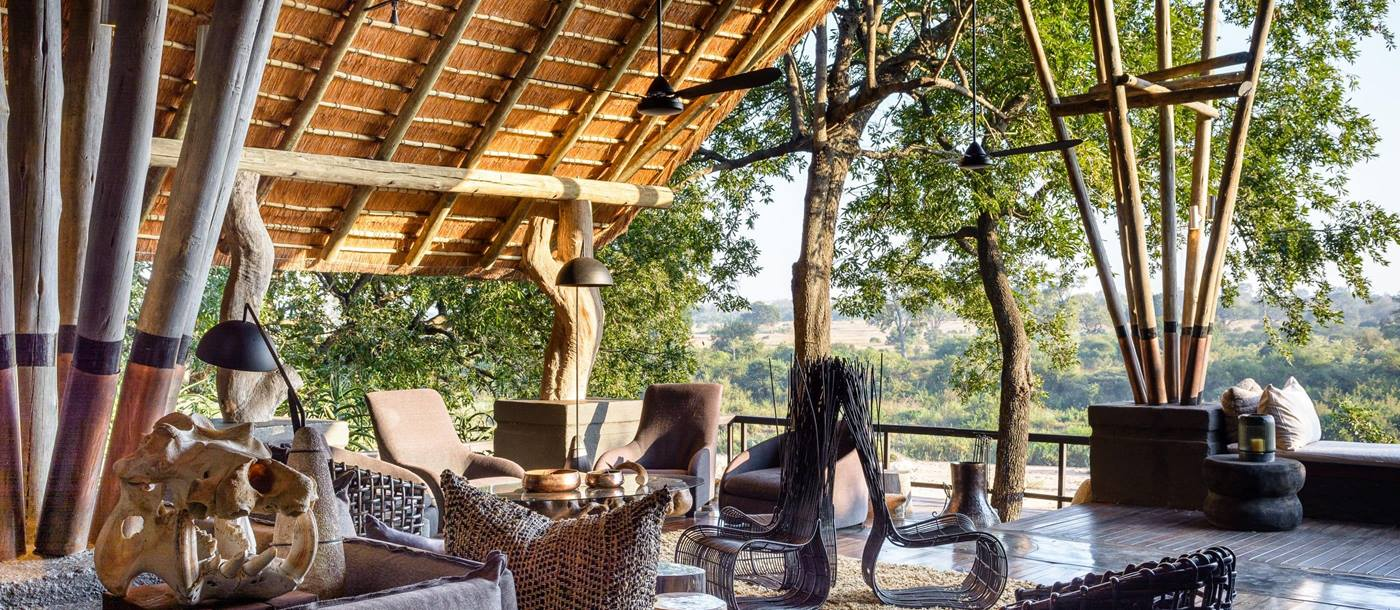 The outdoor seating area at Singita Boulders