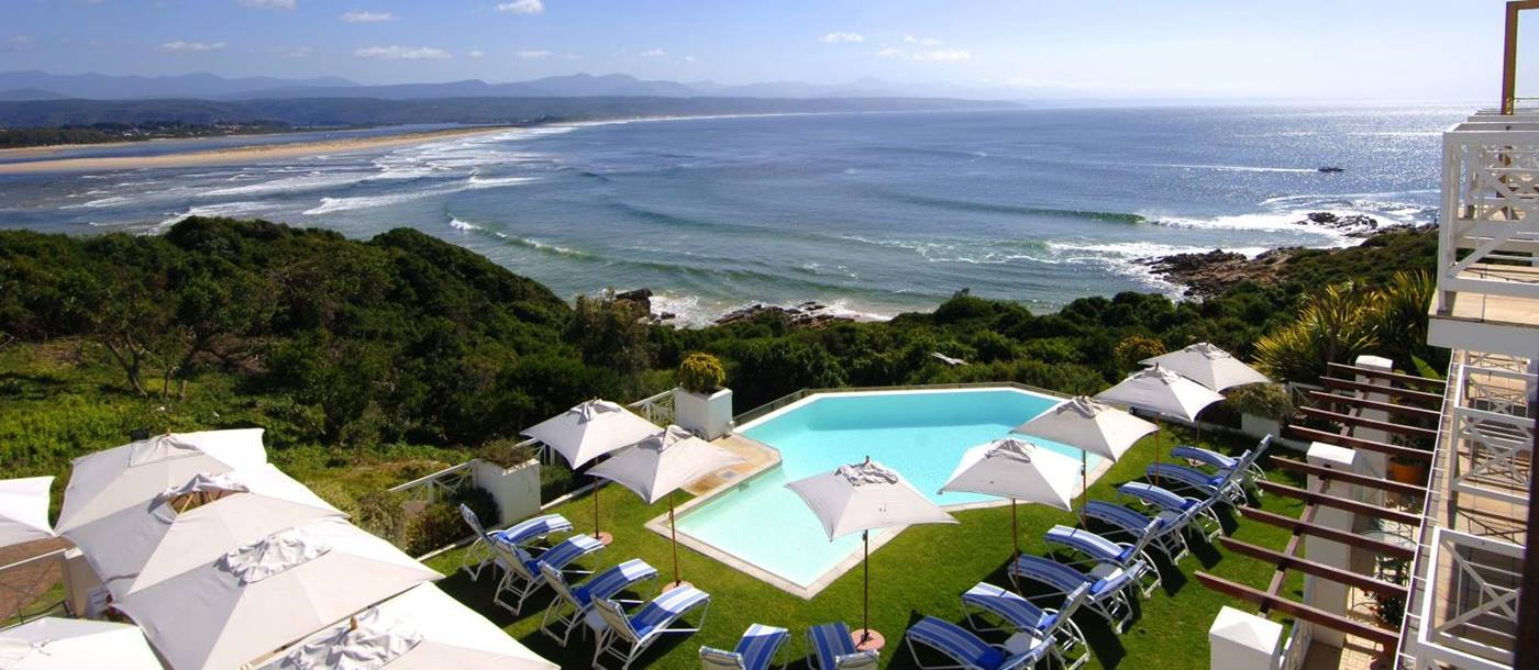 View of the sea and pool at The Plettenberg in South Africa